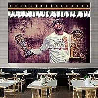 スーパーバスケットボールスタージェームズダンクタペストリー、リビングルームの寝室の装飾パーティーバナーのための柔らかいタペストリー White 3