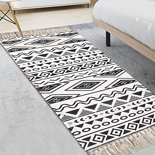 Alfombra blanca y negra para pasillo, 60 x 130 cm, alfombra geométrica, lavable a máquina, con borla de algodón tejida a mano, para salón, entrada, sofá, cocina, dormitorio, alfombra