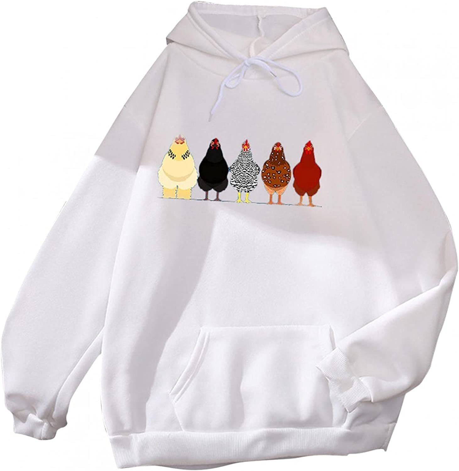 lucyouth Hoodies for Women Teens Girls Long Sleeve Casual Chicken Pocket Cute Winter Clothes Pullover Sweatshirt Tops