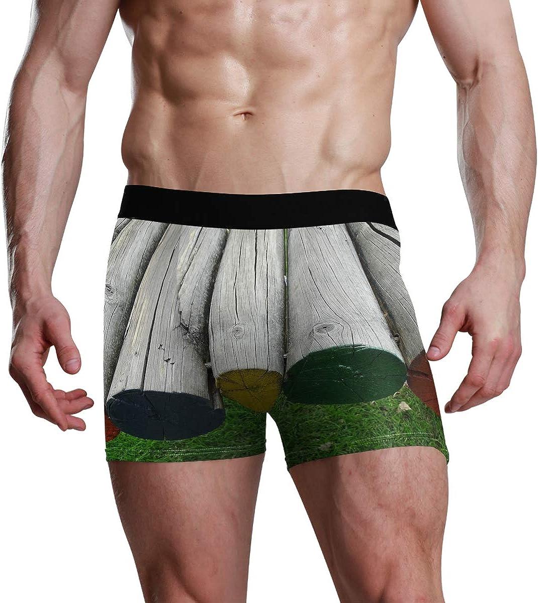 HangWang Men's Boxer Briefs Colored Wood Bikini Underwear Stretch Trunks Boys Underpants