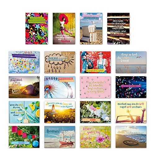 ewtshop 20-delige ansichtkaarten set vreugde en motivatie met 20 spreuken en citaten, wenskaart met spreuk