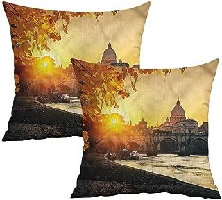 Khaki home Fall Square Kids Pillowcase Sunset Tiber River Rome Square Funny Pillowcase Cushion Cases Pillowcases for Sofa Bedroom Car W 16