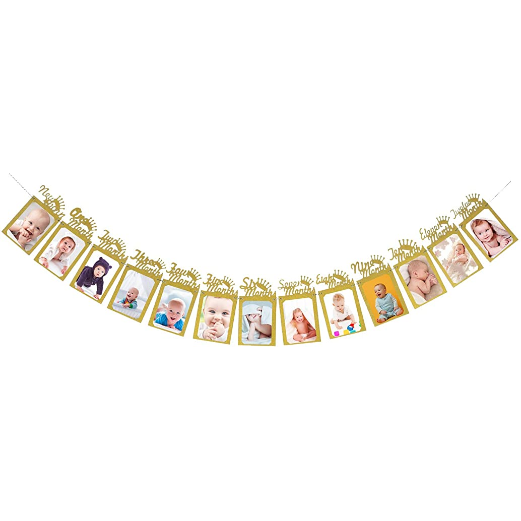 Baby 1st Birthday Photo Banner - Gold Glittery Crown Bunting Garland - 1 Year Christening Milestone Photo Display - Baby Newborn to 12 Months Party Home Decoration