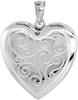 1 inch Sterling Silver Heart Locket Necklace for Women 4 Picture Scroll Engraved 16-20 inch