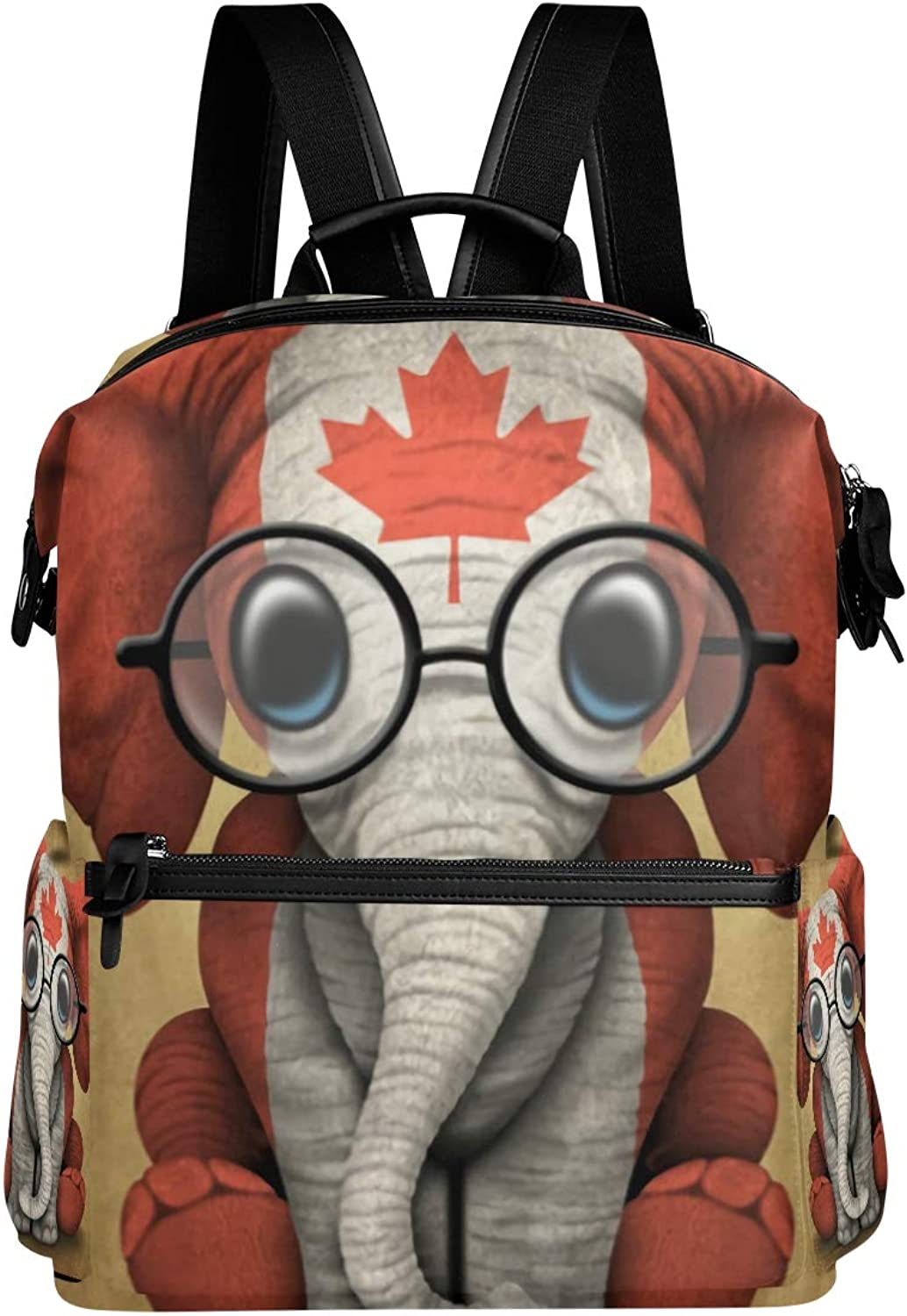 MONTOJ Baby Elephant with Glasses and Canadian Flag Leather Travel Bag Campus Backpack