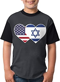 Mingtemei Israel USA Flag Twin Heart Boys 3D Printing Round Neck T Shirt Lightweight Short Sleeve T-Shirts