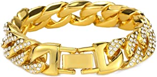 "Fusamk Hip Hop Plated 18K Gold 14MM Wide Cuban Chain Bracelet Crystal Link Bracelet,9.0"" Wrist"