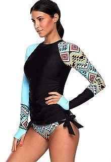 WoCoo womens Surfing Wetsuit Sun-proof Clothing Long Sleeve UV Sun Protection UPF 50+ Rash Guard Top 2 Piece Swimsuit Set