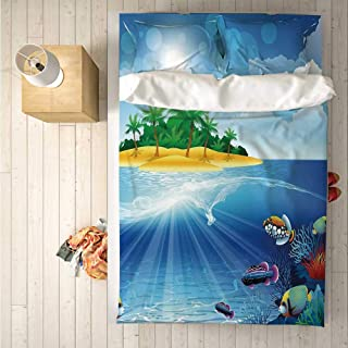 Aquarium Soft 4 Piece Bedding Set,Deserted Tropical Island with Palm Trees Various Exotic Sea Animals and Plants for Bedroom,One Side Print : Singe