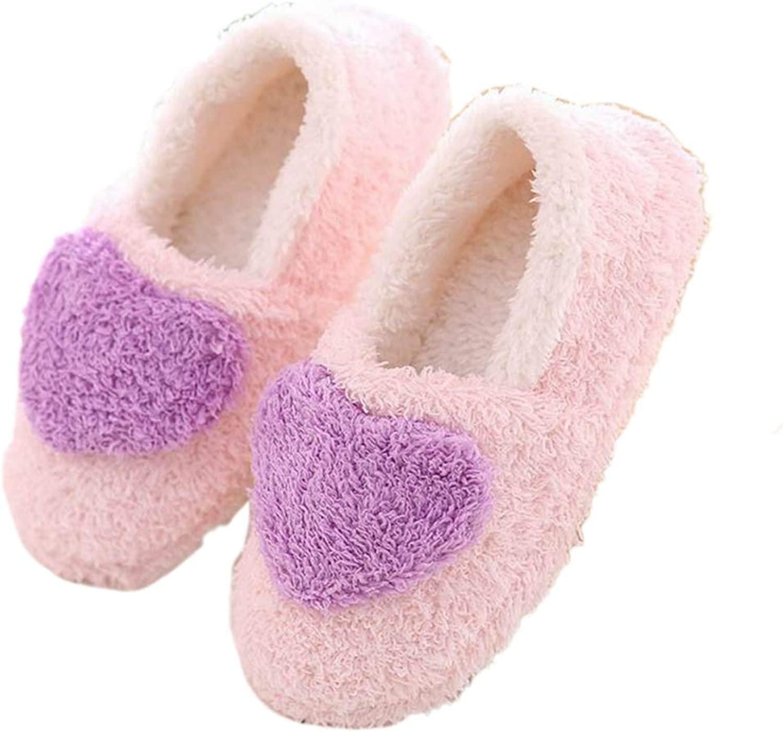 Nafanio Winter Woman Slippers Fluffy Heart Shape Indoor Flats Boots Cartoon Warm Home Casual Footwear
