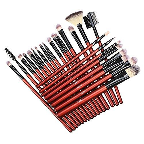 Anjou Brochas para Maquillaje de 24 Piezas, Juego de Brochas para Maquillaje de Ojos, Delineador, Sombra de Ojos, Cejas, Bases, Brochas Difusoras de Polvos Líquidos, Mango de Madera Premium
