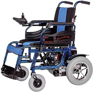 NADAENW Sillas de Ruedas eléctricas de Aluminio portátiles Silla de Ruedas eléctrica Plegable Ligera con Freno de Mano y Alarma de Marcha atrás Azul,Azul
