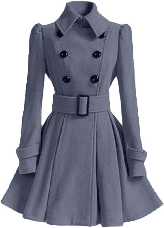 Abetteric Women's Wool Blended Peplum Button Closure Parka Jackets