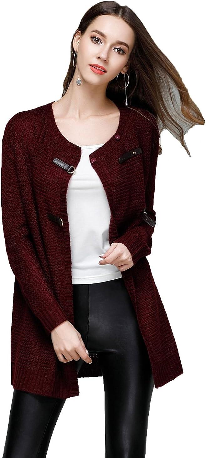 YSJ Women's Long Sleeve 2 Ways to Wear Open Front Cardigan Knit Sweater Top