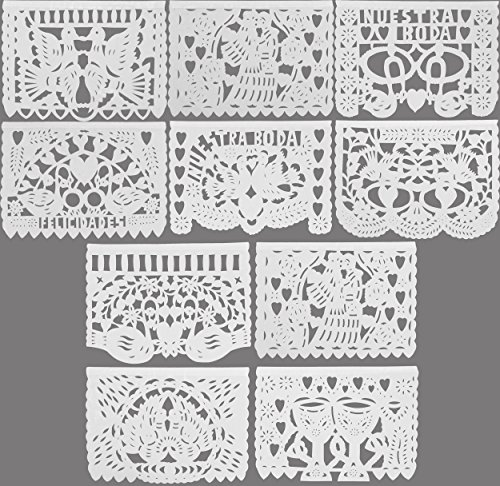 Festive Large Plastic Wedding BODA Mexican Papel Picado Banner (15 Feet Long) Designs as Pictured by MEXIMART