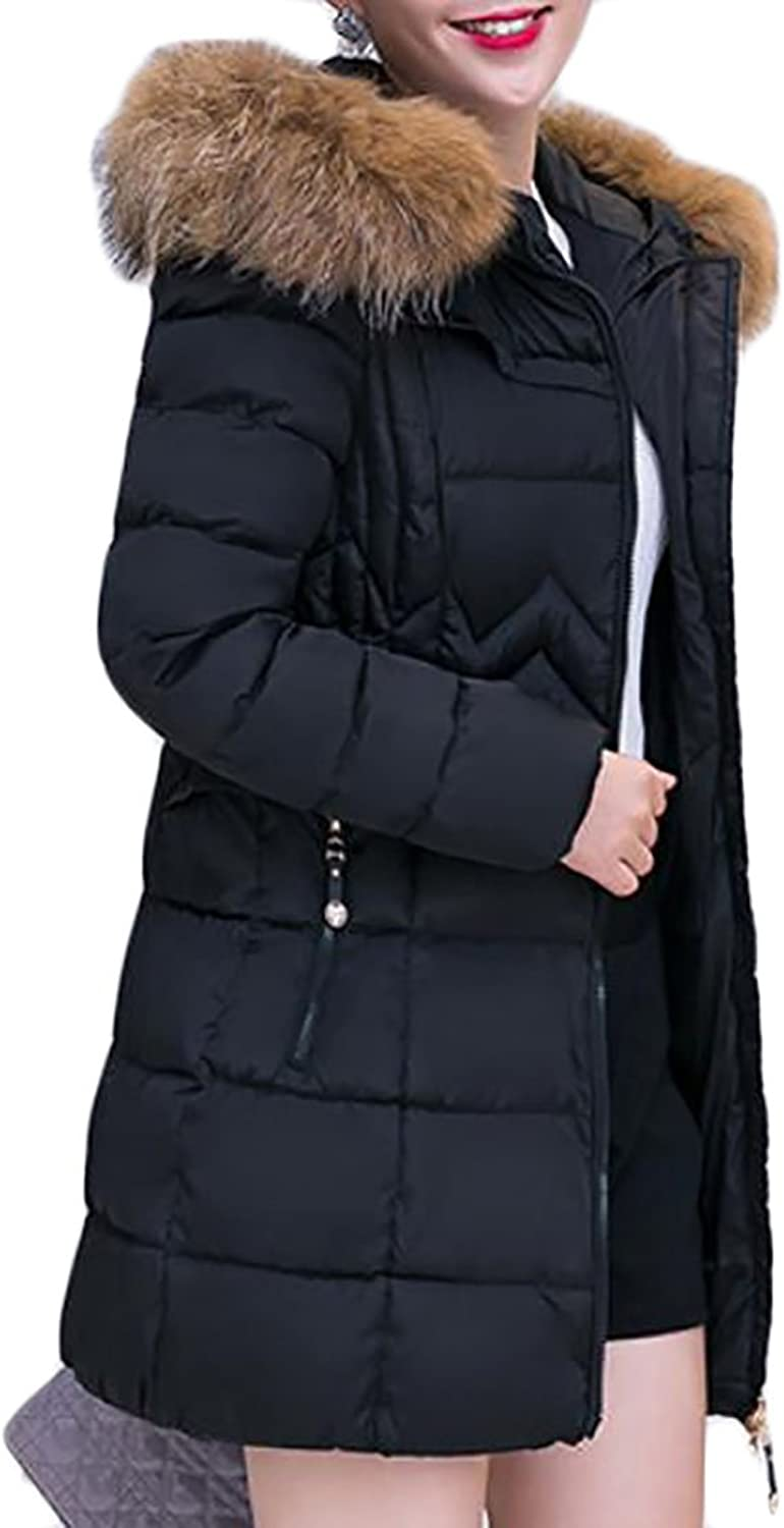 Papijam Womens Thick Quilted Faux Fur Hooded Zip Puffer Warm Coat Jacket Parkas