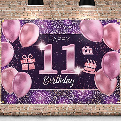 PAKBOOM Happy 11th Birthday Banner Backdrop - 11 Birthday Party Decorations Supplies for Girls - Pink Purple Gold 4 x 6ft