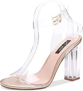 Onlymaker Women's Lucite Clear Ankle Strap Adjustable Buckle Block Chunky Perspex High Heel Transparent Dress Sandals