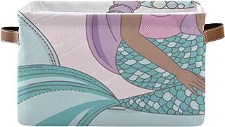 Paniers de rangement Baleine Unicorn Mermaid Walking while Riding Placard Organisateur Boîte à étagères avec poignée Bacs ...