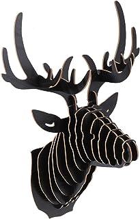 VOSAREA - Percha para colgar en la pared, estilo vintage, rústico, puzle 3D, madera, pared, salón, decoración (negro)