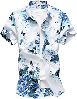 WanYangg Uomo Camicia Hawaiana A Fiori Manica Corta Maglietta Estate Aloha Shirt Shirts Floreale Vintage Funky Casual Fant...