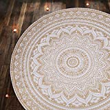 Chakra Mandala Rond - Tapisserie Petite Roundie Dorée Boho Chic Coton Jetee Plage Tapestry Roundie Beach Throw Towel Lance pour Pique-Nique et Camping - Blanc et Or - 122 Cm