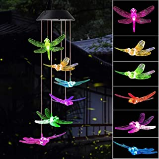 ShangTianFeng Wind Chime, Solar Dragonfly Wind Chimes Outdoor/Indoor(Gifts for mom/momgrandma Gifts/Birthday Gifts for mom),Outdoor Decor,Yard Decorations,Memorial Wind Chimes,Best mom Gifts