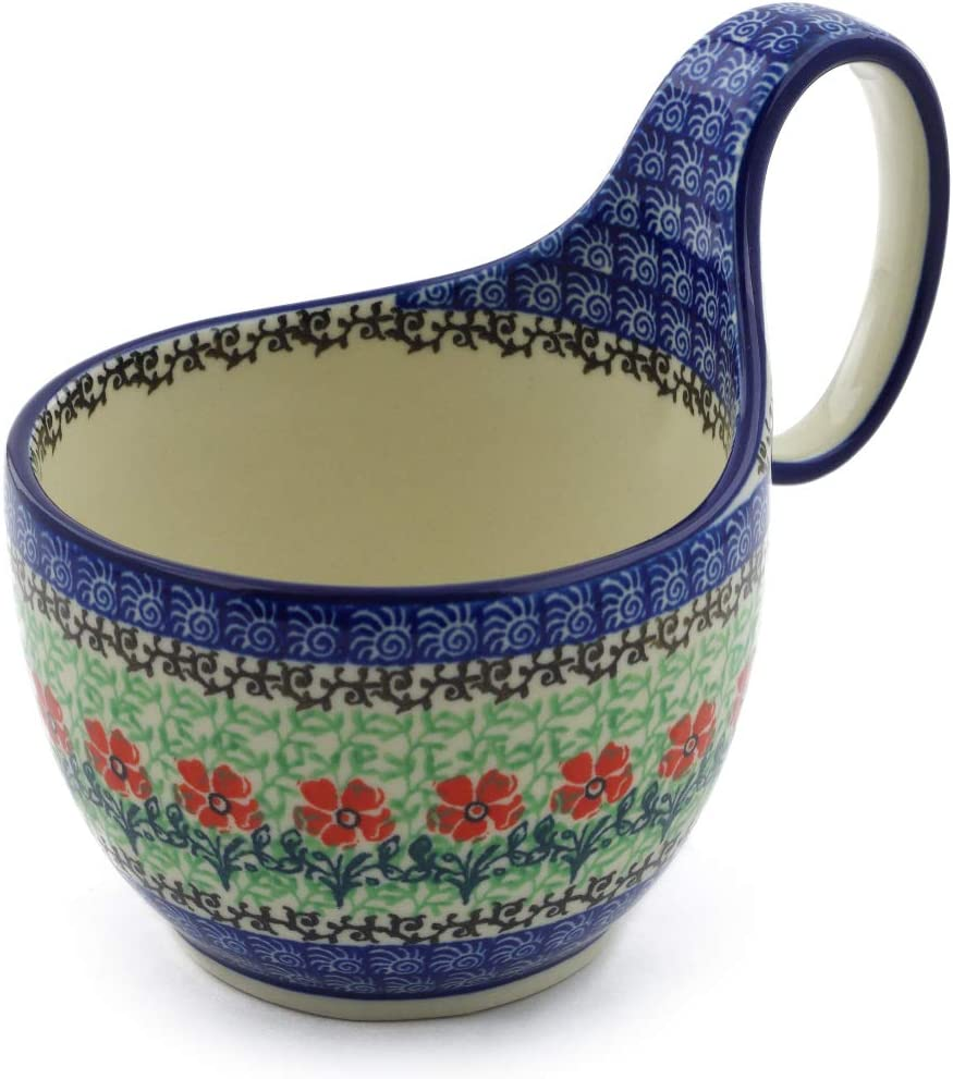 All items free shipping Polish Pottery Rapid rise Bowl with 6-inch Handles Maraschino
