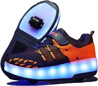 Unisex Bambini e Ragazze Scarpe da LED Luce USB Ricaricabile Singolo Doppia Ruota con Ala Skateboard Sportive con Rotelle ...