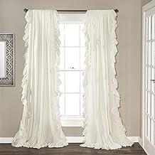 مجموعة ستائر نافذة رينا بلون ابيض من لوش ديكور لغرفة المعيشة وغرفة الطعام وغرفة النوم (زوج) 120 × 54 انش
