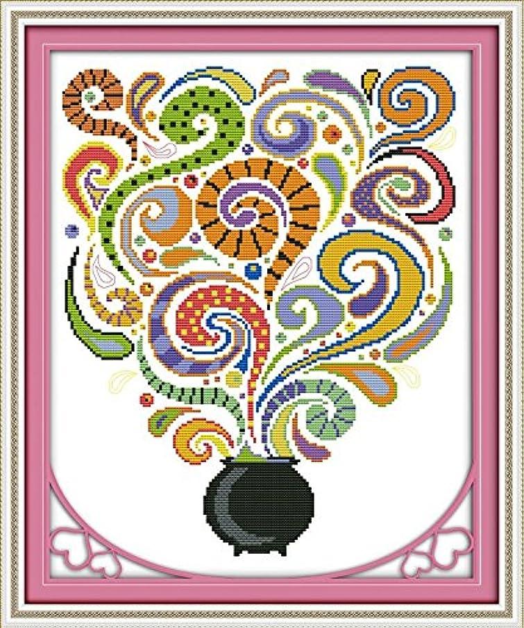 Joy Sunday Cross Stitch Kit 14CT Stamped Embroidery Kits Precise Printed Needlework- Halloween Magic Bottle 35×43CM