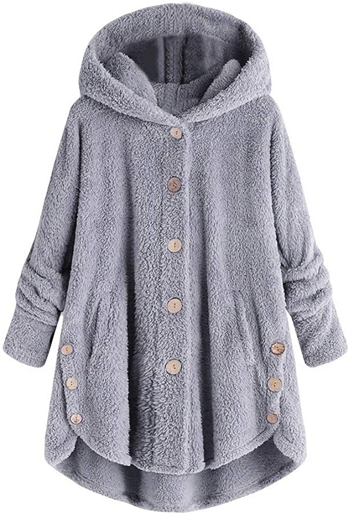 Women Casual Fuzzy Fleece Hooded Jacket Shaggy Cardigan Pocket Faux Fur Outerwear Coat KLGDA
