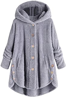 Sunmoot Hooded Faux Fur Coats for Women Long Teddy Bear Jacket Button Fluffy Pullover Loose Sweater