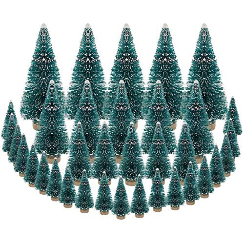Moligh doll 35 PCS Miniature Christmas Tree Artificial Snow Frost Trees Pine Trees for Christmas DIY Craft Party Decoration (4 Size)