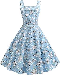 e053ba73139b Women's Retro Dress 1950s Sleeveless Strappy Print Bodycon Evening Party  Prom Swing Dress