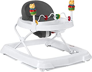 HONEY JOY Baby Walker, Foldable Activity Walker Helper with Adjustable Height, Baby Activity Walker with High Back Padded Seat & Bear Toys (Grey)