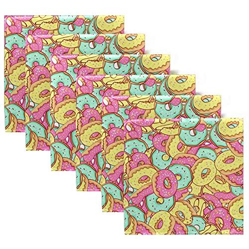 Servilletas de Tela Juego de 6 servilletas de Cena de Donuts de Menta Azul Rosa, servilletas de Mesa Reutilizables para cócteles, Vacaciones, Bodas, hogar, decoración