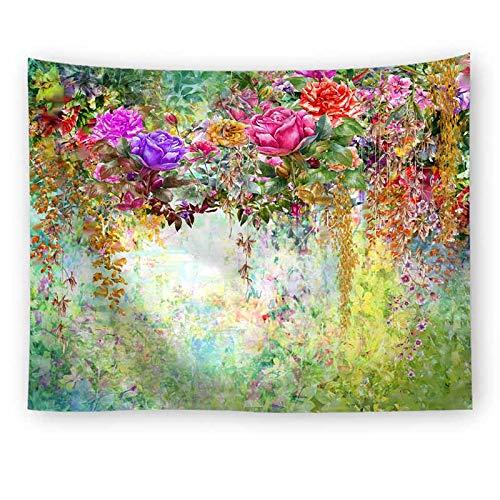 KHKJ Puente de Flores Tapiz Colgante de Pared decoración de la Boda Colorido Paisaje Tapiz Alfombra de Pared tapices de Vacaciones A6 200x180cm
