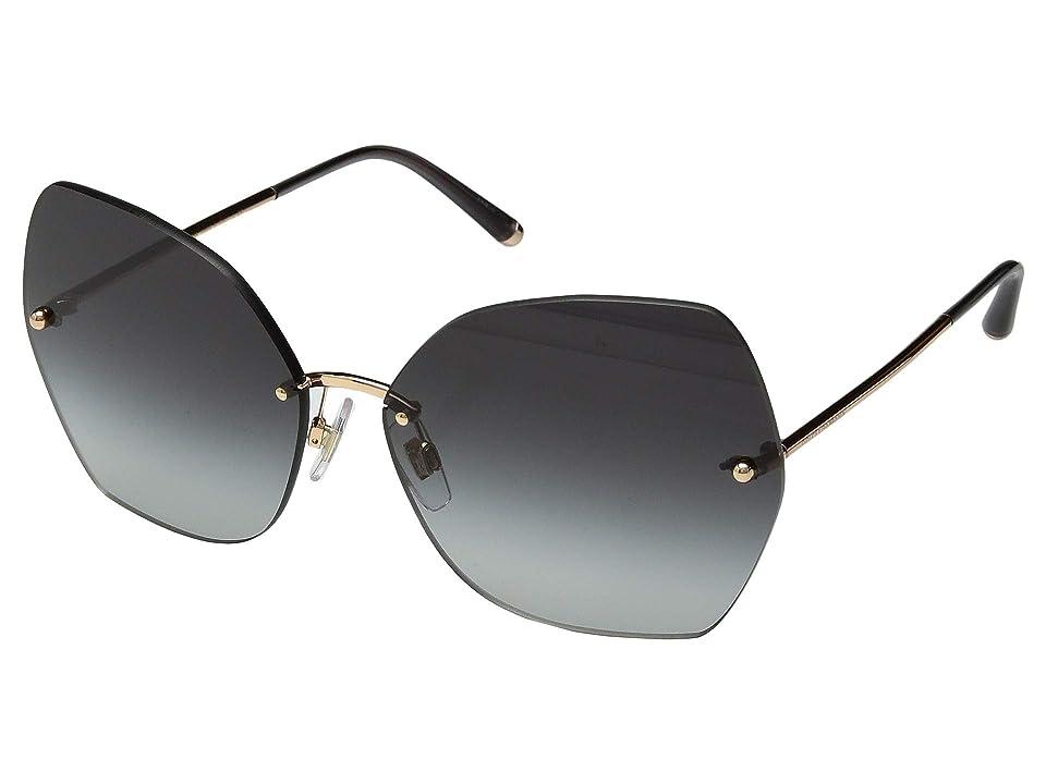 Dolce & Gabbana DG2204 (Pink Gold/Light Grey Gradient Black) Fashion Sunglasses