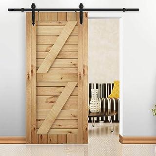 comprar comparacion Yaheetech 6FT 183cm Kit de Accesoriso de Puertas Herraje de Puertas Corredera Carril Juego de Piezas para Puertas Deslizante
