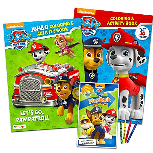Paw Patrol Coloring Book Super Set -- 2 Coloring and Activity Books, Over 50 Stickers and Mini Crayons