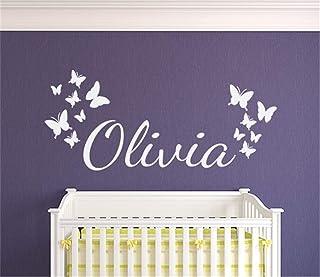 pegatinas de pared vinilo Nombre personalizado con mariposas para guardería Habitación para niños Habitación para niñas