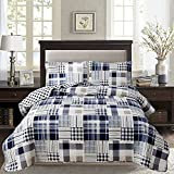 Plaid Reversible Ultra Thin Lightweight Quilt Set,Navy Blue Grid Coverlet Bedspread Quilted Bed Sheets with Pillow Shams,Dark Blue and White Checkered Bedding Sets for Spring Summer(Twin,Navy Blue)