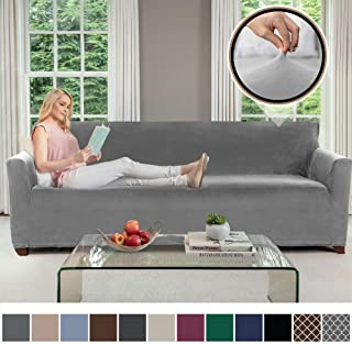 Gorilla Grip Original Velvet Fitted 1 Piece Oversized Sofa Slipcover, Stretch Up to 78 Inches, Soft Velvety Covers, Luxurious Couch Slip Cover, Spandex Sofas Furniture Protector, with Fasteners, Gray