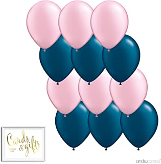 Andaz Press 11-inch Balloon Duo Party Kit with Gold Cards & Gifts Sign, Blush Pink and Navy Blue, 12-pk