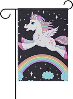 lightly Sweet Home Garden Flag Vertical Double Sided Spring Summer Twinkle Rainbow Unicorn Outdoor Yard Flags Decorative 28x40 Inch