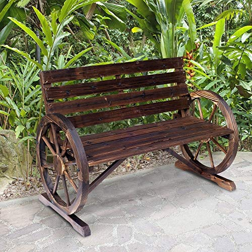 NA2 Outsunny Rustic Outdoor Patio Wagon Wheel Wooden Bench Chair, for Your Garden, Patio, or...