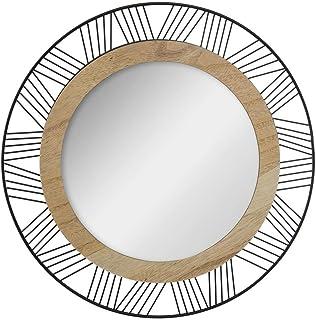 Atmosphera - Miroir Rond en Bois et métal Joe D45 cm
