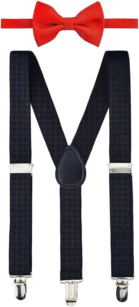 Retreez Boy's Suspender Bow Tie Set Solid Color Square Textured Pre-Tied Bow Tie