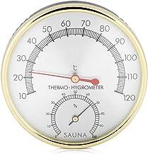 ViaGasaFamido Thermomètre hygromètre d'intérieur à Cadran en métal, hygromètre avec Plateau en Bois pour Les ateliers, Les...